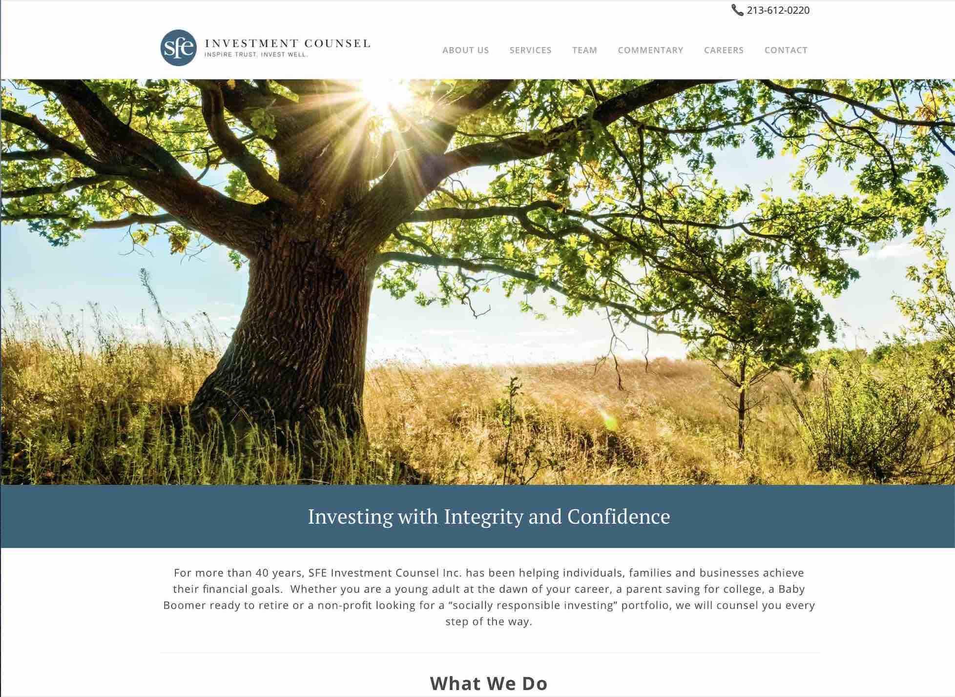 Financial Advisors website copywriting SEO and creative direction. Image includes an oak tree in a sunny meadow in California